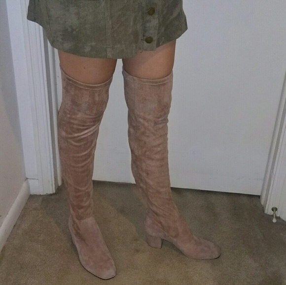2a48eaba785 New MADE Taupe Kid Suede Thigh High boots